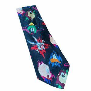 Vtg Looney Tunes Mania Tie Faces & Paint Splatter
